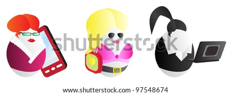 Business woman easter eggs for design use - stock photo