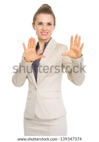 Business woman explaining perspectives - stock photo