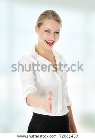 Business woman extend hand - stock photo