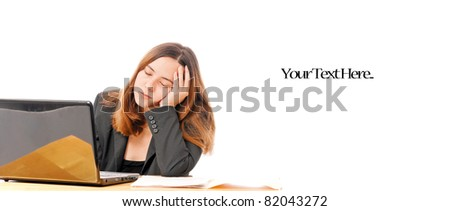 Business Woman Falling Asleep on Computer - stock photo