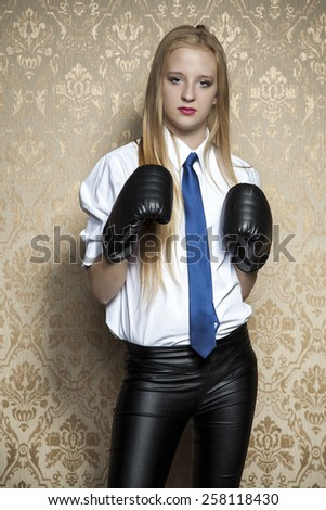 business woman fighting authorities - stock photo