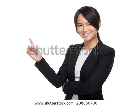 Business woman finger point out