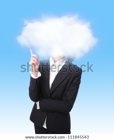 business woman finger point to cloud with blue sky background, cloud computing concept