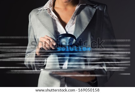 Business woman found solution in information security, information security concept - stock photo