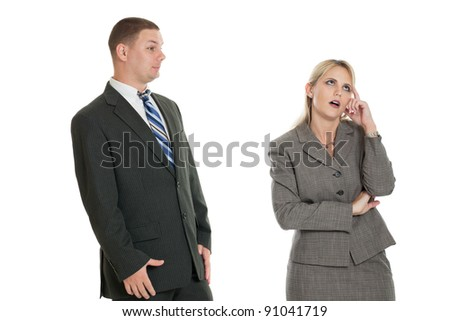 Business woman frustrated with business man isolated on white - stock photo