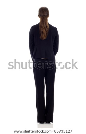 Business woman full body from back - stock photo