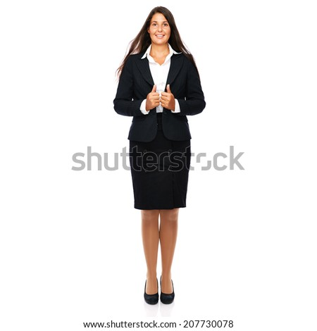 Business woman full length isolated on white background.   - stock photo