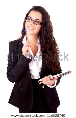 Business woman full of thoughts, isolated on white