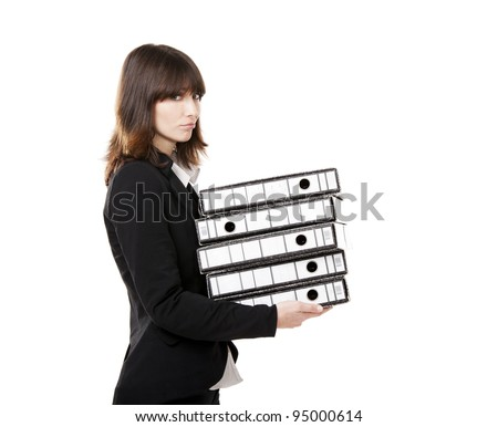 Business woman full of work holding a pile of folders, isolated on white background - stock photo