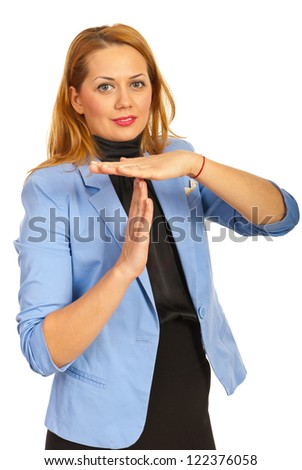 Business woman gesturing time out isolated on white background - stock photo