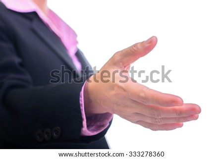 Business woman gives a handshake, isolated on white - stock photo