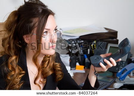 business woman gives up the phone