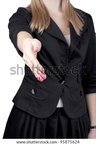 Business woman giving hand for handshake isolated on white