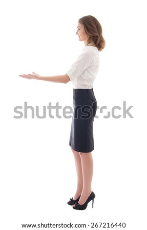 business woman giving something isolated on white background - stock photo