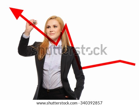 business woman growth and success graph
