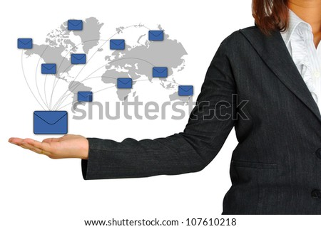 Business Woman Hand Hold Letter for Business - stock photo