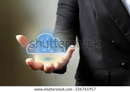 Business woman hand holding cloud computing  in palm , business concept ,business idea