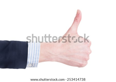 Business woman hand showing thumb up isolated on white background - stock photo