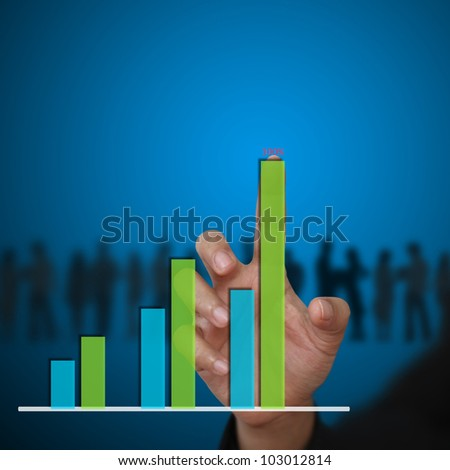 business woman hand touch Bar graph Diagram - stock photo