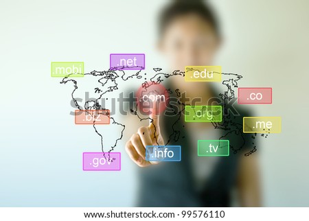 Business woman hand  touching on domain name icon