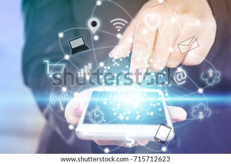 business woman hand touching on smart phone screen with technology icon iot  ( internet of things)