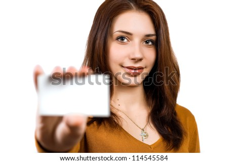 Business woman handing a blank business card over white background