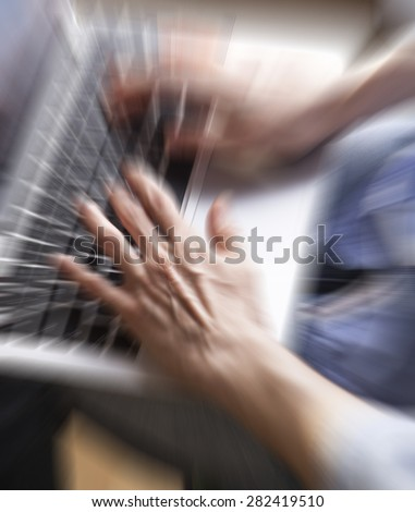 business woman hands busy using laptop at office desk,woman typing on the laptop ,office space - stock photo