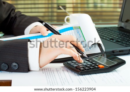 business woman hands in office at work