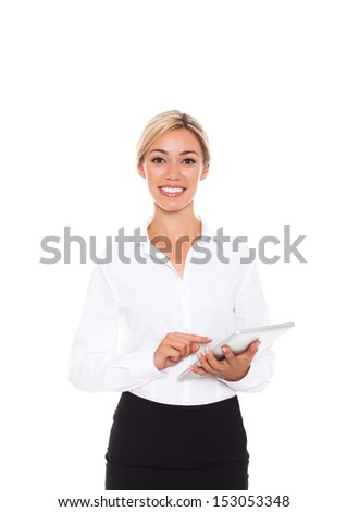 business woman happy smile hold tablet pad computer empty touch screen with copy space, young businesswoman smiling isolated over white background - stock photo