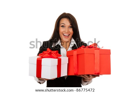 Business woman happy smile hold two gift box in hands. Isolated over white background.