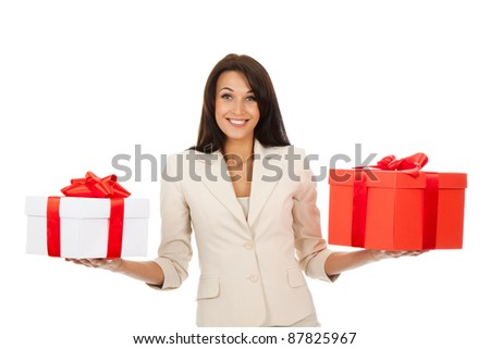 Business woman happy smile hold two gift box in hands. Isolated over white background - stock photo