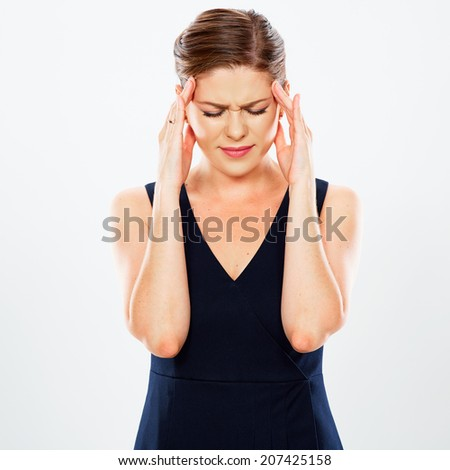 Business woman headache  portrait. White background. - stock photo