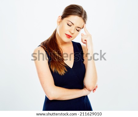 Business woman headache  portrait. white background isolated .