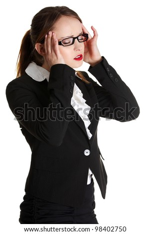 Business woman heaving headache - stock photo