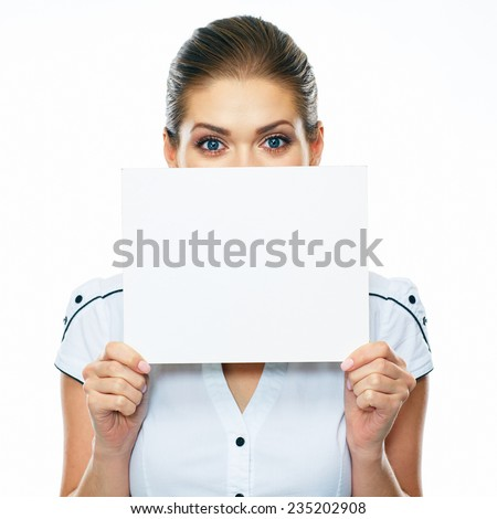 Business woman hold banner, white background isolated  portrait. Female business model. - stock photo