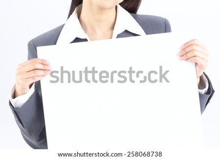 Business woman hold blank