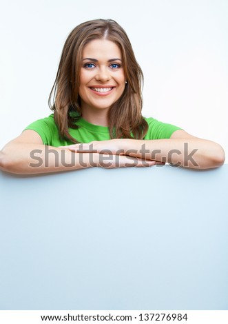 Business woman hold blank card. Smiling business woman.