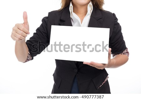 Business woman hold Blank Label
