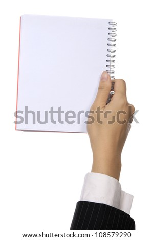 Business woman hold blank notebook isolated over white background. You can put your message on the paper