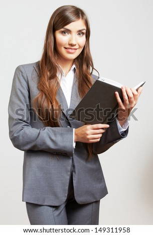 Business woman hold business paper. Female model isolated portrait. - stock photo