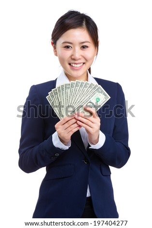 Business woman hold cash
