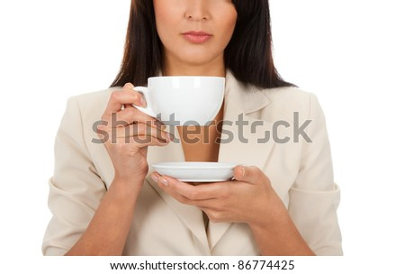 business woman hold cup of coffee