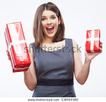 Business woman hold gift box. Female model studio posing. - stock photo