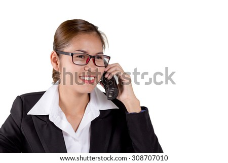 Business woman hold telephone on a white background.