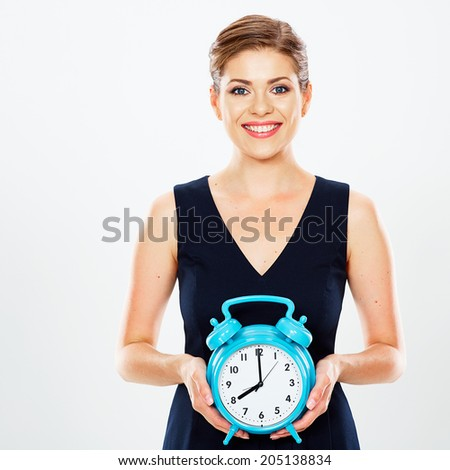 Business woman hold watch. White background isolated. Time concept.