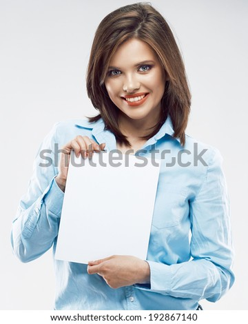 Business woman hold white banner. Young professional worker. - stock photo