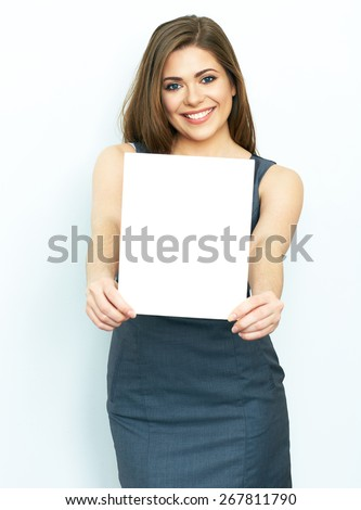 Business Woman hold white card. female model with long hair. blank advertising board. - stock photo
