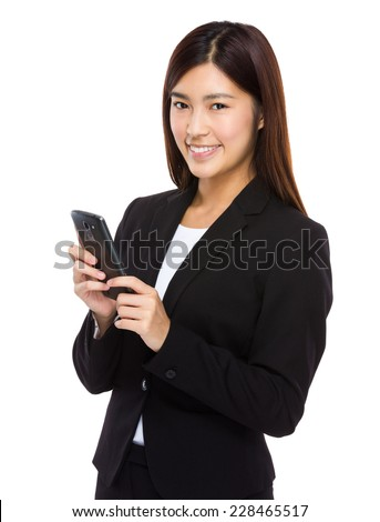 Business woman hold with mobile phone