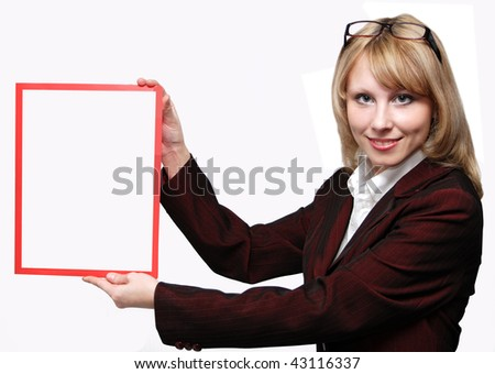 Business Woman holding a banner add isolated over a white background - stock photo