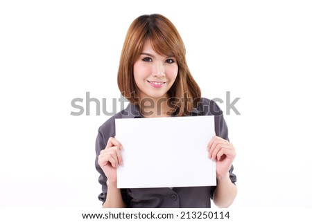 Business woman holding a banner, board, blank card for text space on white isolated background - stock photo